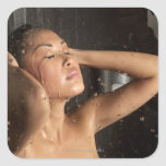 Young woman in shower sticker