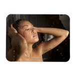 Young woman in shower vinyl magnets