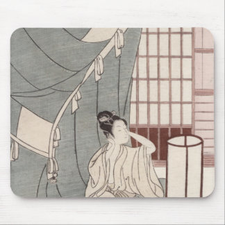 Young woman kneeling by her mosquito net, 1766 mouse pad