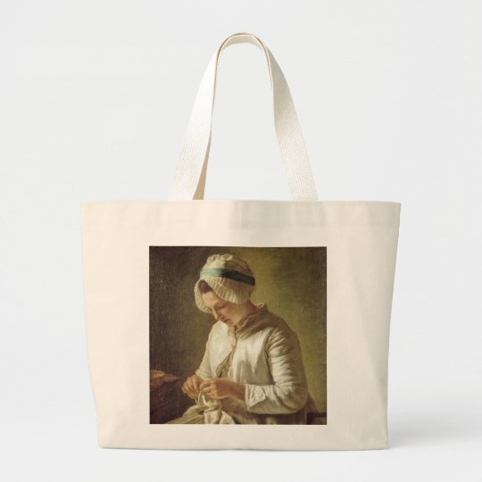 Young Woman Knitting Large Tote Bag