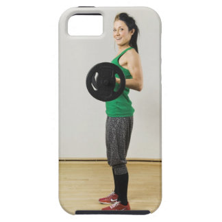 Young woman lifting a barbell. iPhone SE/5/5s case