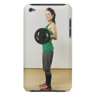 Young woman lifting a barbell. iPod touch cover