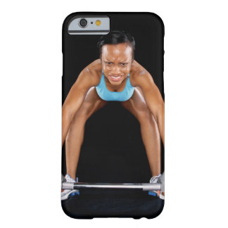 Young woman lifting barbell, portrait barely there iPhone 6 case