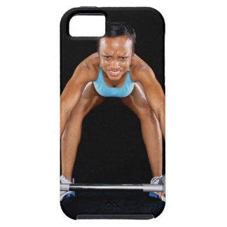 Young woman lifting barbell portrait iPhone 5 case