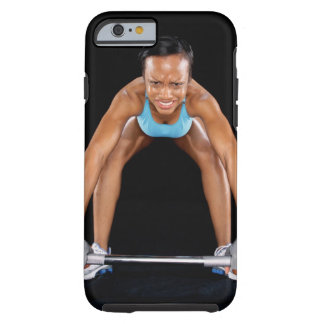Young woman lifting barbell portrait iPhone 6 case