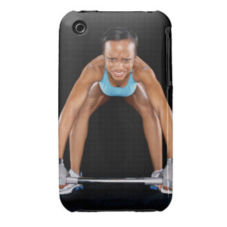Young woman lifting barbell, portrait Case-Mate iPhone 3 case