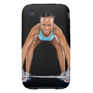 Young woman lifting barbell, portrait iPhone 3 tough cover