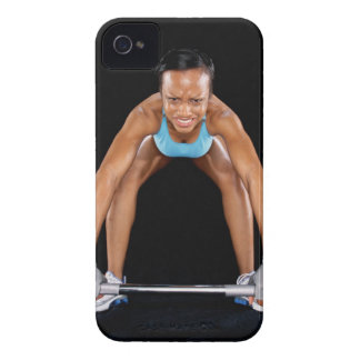 Young woman lifting barbell, portrait iPhone 4 case