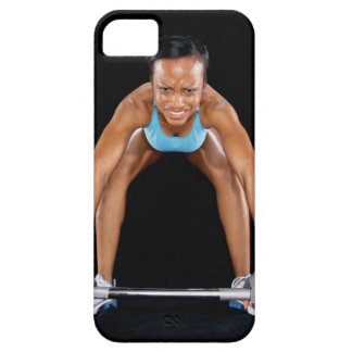 Young woman lifting barbell, portrait iPhone SE/5/5s case