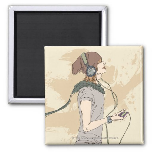 Young woman listening music fridge magnets