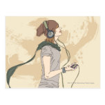 Young woman listening music post card