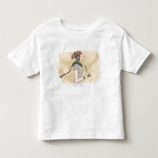 Young woman listening music toddler t-shirt