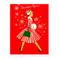 Young woman on a Christmas again, vintage holiday Postcard