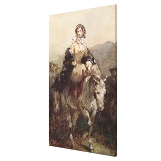 Young Woman on a Horse Canvas Print