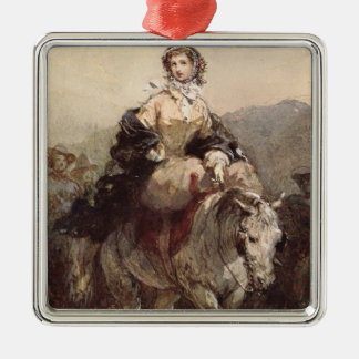Young Woman on a Horse Metal Ornament