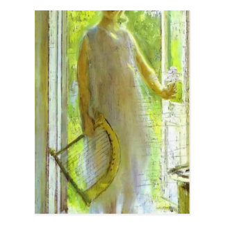 Young Woman on the Threshold by Konstantin Korovin Postcard
