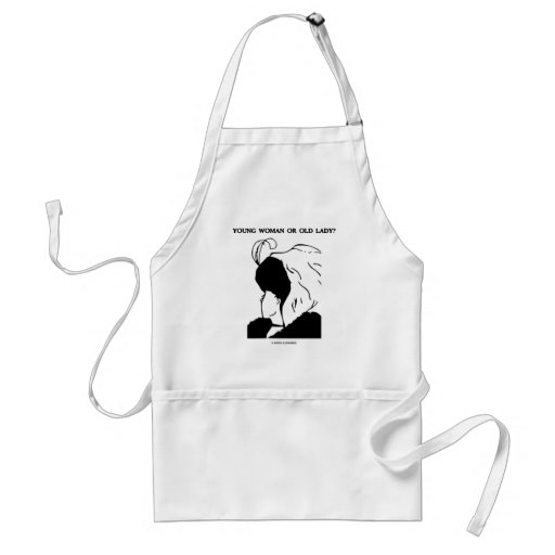 Young woman or old lady optical illusion aprons