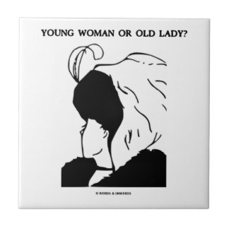 Young Woman Or Old Lady? (Optical Illusion) Tile