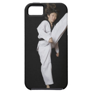 Young woman performing front kick iPhone SE/5/5s case
