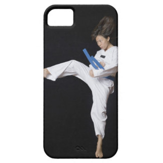 Young woman performing round kick iPhone SE/5/5s case