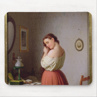 Young Woman Plaiting her Hair Mouse Pad