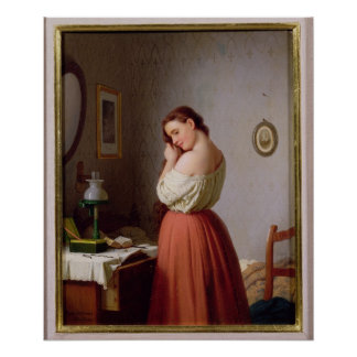 Young Woman Plaiting her Hair Poster