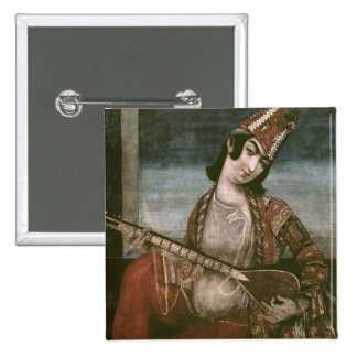 Young Woman Playing a Guitar 2 Inch Square Button