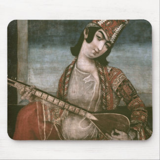 Young Woman Playing a Guitar Mouse Pads