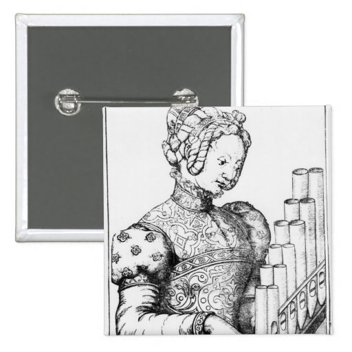 Young Woman Playing a Portative Organ Button