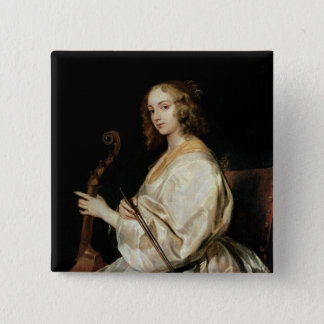 Young Woman Playing a Viola da Gamba Button