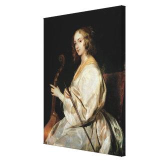 Young Woman Playing a Viola da Gamba Canvas Print