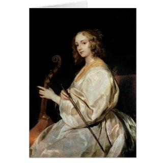 Young Woman Playing a Viola da Gamba Card