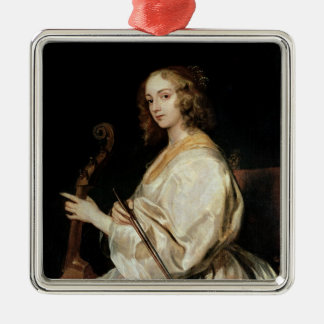 Young Woman Playing a Viola da Gamba Metal Ornament