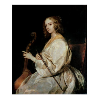 Young Woman Playing a Viola da Gamba Poster