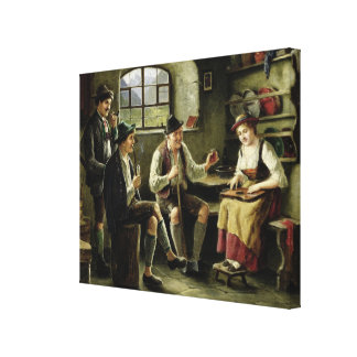 Young Woman Playing a Zither Canvas Print