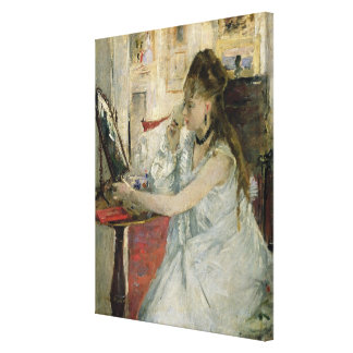Young Woman Powdering her Face, 1877 Canvas Print