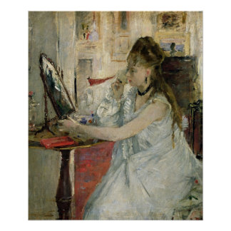 Young Woman Powdering her Face, 1877 Poster