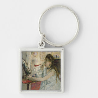 Young Woman Powdering her Face, 1877 Silver-Colored Square Keychain