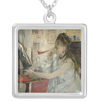 Young Woman Powdering her Face, 1877 Silver Plated Necklace