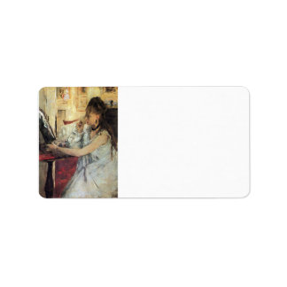 Young woman powdering her face by Berthe Morisot Custom Address Label