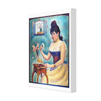 Young Woman Powdering Herself Canvas Print