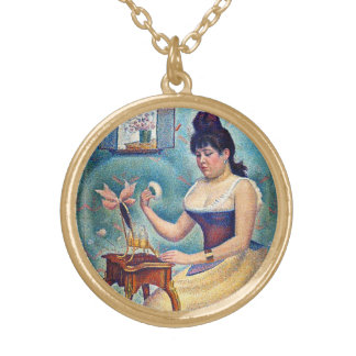 Young Woman Powdering Herself Gold Plated Necklace
