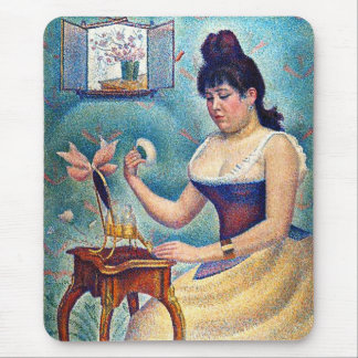 Young Woman Powdering Herself Mouse Pad