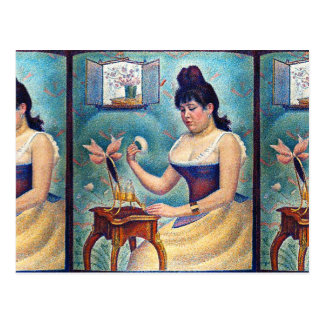 Young Woman Powdering Herself Postcard