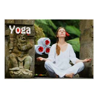 Young woman practices yoga poster