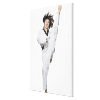 Young woman practicing kicking gallery wrap canvas