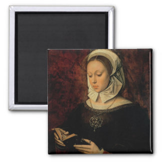 Young Woman Reading a Book of Hours (oil on panel) 2 Inch Square Magnet