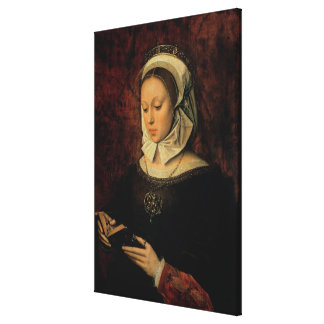 Young Woman Reading a Book of Hours (oil on panel) Canvas Print