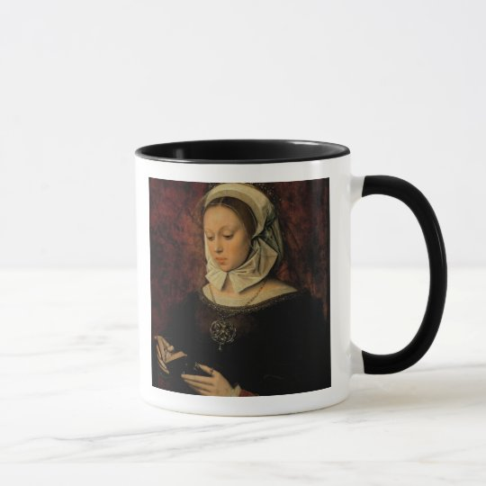 Young Woman Reading a Book of Hours (oil on panel) Mug