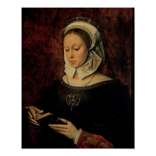 Young Woman Reading a Book of Hours (oil on panel) Print